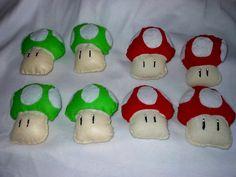 Mushrooms from Mario felt plushies