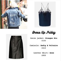 Dress up Friday inspiration. Style up our Swarovski Rock n Roll denim jacket with a Zadig & Voltaire cami and an Acne leather skirt #disegnomio #dmio #sparkle #swarovski #outfitinspiration #dressupfriday #fridayoutfit #fridayinspiration #whattowear #staysparkly #zadigetvoltaire #acne @disegno_mio @zadigetvoltaire @acnestudios Friday Outfit, Oversized Denim Jacket, Italian Fashion, Wearable Art, Rock N Roll, Cami, What To Wear, Leather Skirt, Swarovski