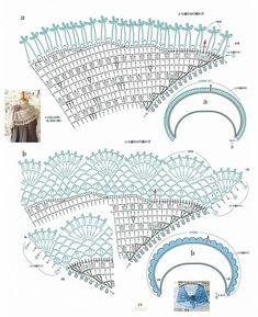 Shawl Crochet Patterns Part 2 - Beautiful Crochet Patterns and Knitting Patterns Poncho Au Crochet, Beau Crochet, Bonnet Crochet, Crochet Motifs, Crochet Shawls And Wraps, Crochet Diagram, Crochet Chart, Crochet Scarves, Crochet Clothes