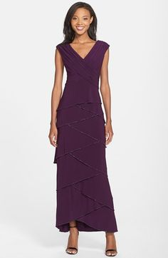 I'll be wearing this dress on formal nights during my South Pacific cruise on Silversea. Patra Beaded Artichoke Tier Matte Jersey Gown available at #Nordstrom