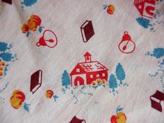 Vintage 1940s Feedsack Novelty Schoolhouse Full by ITSYOURCOUNTRY, $74.99