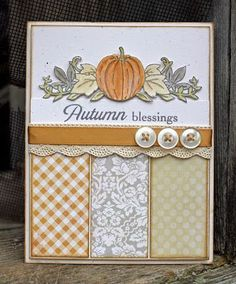 "Lovely ""Autumn Blessings"" Card...with paper scraps and buttons...Larissa Heskett Designs-Introducing Autumn Borders."