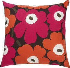 "Marimekko Pieno Unikko Brown and Orange and Pink 20"" Pillow  