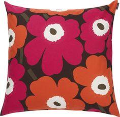 "Marimekko Pieno Unikko Brown and Orange and Pink 20"" Pillow  | Crate and Barrel"