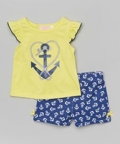 Another great find on #zulily! Yellow Anchor Top & Blue Shorts - Infant, Toddler & Girls #zulilyfinds