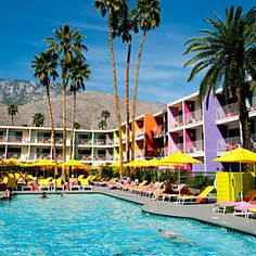 The Saguaro hotel, Palm Springs: Drenched in a rainbow of 12 hues inspired by the colors of desert flowers, it pops against the mountain backdrop.