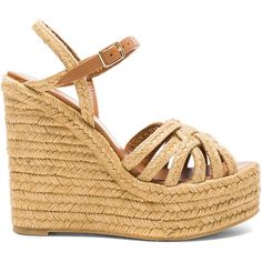 Saint Laurent Espadrille Wedges (£323) ❤ liked on Polyvore featuring shoes, sandals, heels, braided wedge sandals, platform sandals, wedges shoes, platform wedge shoes and braided sandals