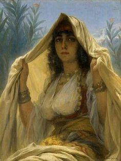 Peinture d'Algérie - Peintre Français Gaston-Casimir Saint-Pierre (1833-1916),Huile sur toile, Titre..L'attente au Rendez- Vous
