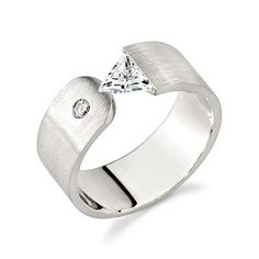 Contemporary tension set Wedding Rings for Women | Jacobsma Jewelry - 18K White Gold Ladies Tension Set, Trillion Cut, H ...