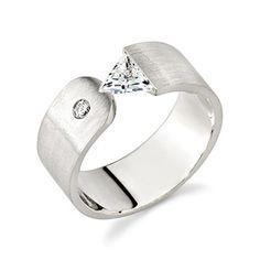 18K White Gold Ladies Tension Set, Trillion Cut, H Color, SI1 Clarity Diamond Designer Engagement Ring (1.25 Carat)