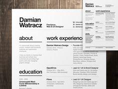 Resume by Damian Watracz  https://dribbble.com/shots/1768058-Swiss-Style-Resume-2014