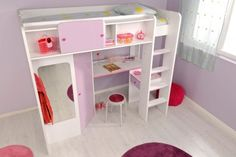 Lit Mezzanine Fille Joyce 90x200 SOMEO | chambre enfant | Pinterest ...
