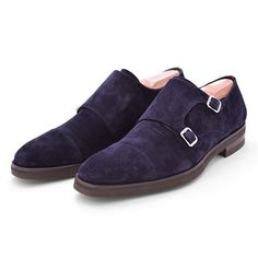 """beckettrobb:      """"The Spiga""""     Blue suede double monk. Blake welted. Vibram sole. Made in Italy."""