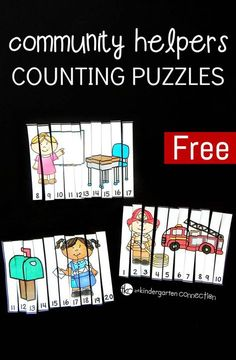 Work on number identification and counting to 20 with these fun and free community helpers counting puzzles! They make a great kindergarten math center or community helper activity! Community Helpers Kindergarten, Community Helpers Activities, Kindergarten Social Studies, School Community, Kindergarten Math, Preschool Learning, Counting Puzzles, Counting Games, Community Workers
