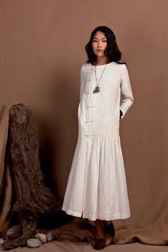 White Dress - Wedding maxi linen dress; winter maxi dress in white, longsleeve pleated cocktail dress