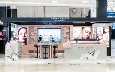 Sheridan&Co worked with the brands' owner, Kendo, to design and deliver Fenty's retail identity across all UK Harvey Nichols stores. Kiosk Design, Display Design, Pop Display, Cosmetic Shop, Cosmetic Design, Small Apartment Interior, Retail Store Design, Beauty Uk, Store Layout