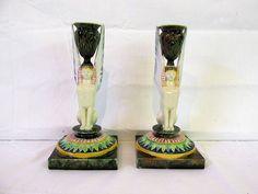 Pair of George Jones Majolica Sphinx Candle Sticks