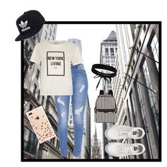 """""""New York City Outfit"""" by emoji678 ❤ liked on Polyvore featuring River Island, adidas, Kate Spade, Vans, Henri Bendel and Boohoo"""
