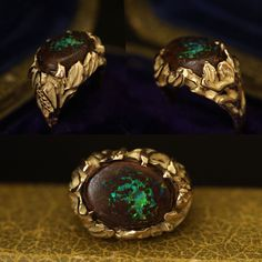 Midcentury Bacchanalia Boulder Opal Ring