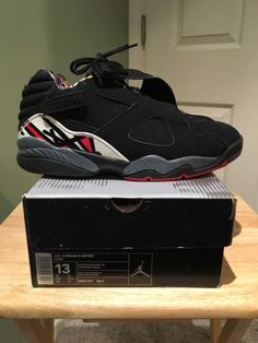 1329dbd21787c4 Details about NIKE AIR JORDAN 8 VIII RETRO PLAYOFF BLACK SUEDE 305381-061  SIZE 13
