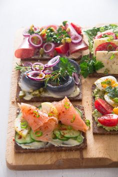 Open Faced Sandwiches Smørrebrød Danish Food is part of Open faced sandwich - Danish Cuisine, Danish Food, Sandwiches, Tapas, Open Faced Sandwich, Gluten Free Puff Pastry, Swedish Recipes, Norwegian Recipes, Scandinavian Food