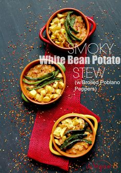8 Ingredient Smoky White Bean Potato Soup with Broiled Poblano Peppers | Smoky, filling and thick. Vegan, gluten-free, oil-free, high in protein and almost fat-free! |http://TheVegan8.com #vegan #glutenfree #oilfree #stew #soups #potatoes