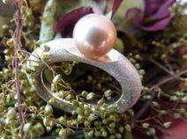 MORGENDÄMMERUNG - Ring Silber/Süßwasserperle rose