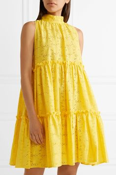 Garden Tiered Cotton Broderie Anglaise Dress - Yellow MDS Stripes