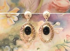 Vintage Jewelry Gold Washed Onyx Dangle Earrings by DLSpecialties on Etsy