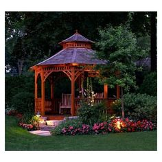 Garden design with a pergola or gazebo is more functional, beautiful and comfortable. Creative and attractive pergolas and gazebos have many advantages. Outdoor Gazebos, Backyard Gazebo, Garden Gazebo, Backyard Landscaping, Outdoor Gardens, Outdoor Structures, Landscaping Ideas, Cozy Backyard, Arbors