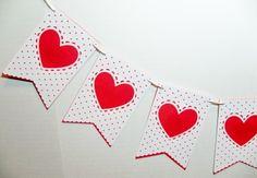 Valentine Wedding Banner Heart Bunting by BethsBannerBoutique Heart Banner, Heart Garland, Wedding Props, Garland Wedding, Wedding Ideas, Valentines Day Decorations, Halloween Decorations, Valentine Gifts, Valentine Ideas