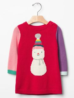 Colorblock snowman sweater dress Product Image