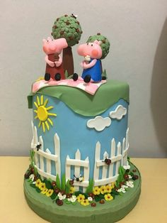 Bolo biscuit Peppa pig e George