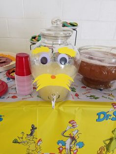 Dr suess baby shower.  Lorax drink.