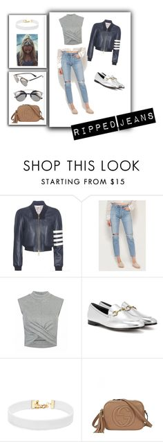 """""""Ripped Jeans For the Lady"""" by laurentolbert ❤ liked on Polyvore featuring Thom Browne, Citizens of Humanity, Gucci, Vanessa Mooney and Christian Dior"""
