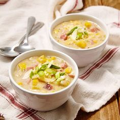 In this healthy corn chowder recipe, heavy cream is replaced with milk and flour-thickened chicken broth and we keep sodium amounts reasonable with lower-sodium broth. By making your own homemade creamy vegetable and corn chowder, you'll save up to 300 calories, 20 grams of saturated fat and 500 milligrams of sodium per serving compared to many store-bought or restaurant chowders.