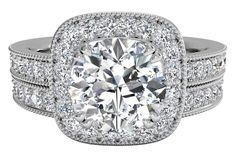 Vintage Cushion Halo Diamond Band Engagement Ring with Surprise Diamonds with matching band - in White Gold (0.65 CTW)