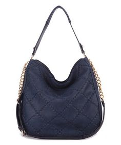 Navy Dahlia Quilted Hobo
