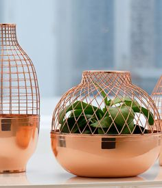 Jaime Hayon designed these copper vases for Gaia & Gino with an eye on Turkish geometric motifs. We love the shot of pure copper, especially when grouped as a trio. Courtesy of Gaia & Gino. Vase Design, Deco Design, Jamie Hayon, Copper Furniture, Copper Rose, Pure Copper, Copper Metal, Copper Color, Copper Accents