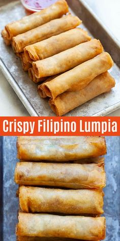 Lumpia are Filipino fried spring rolls filled with ground pork and mixed vegetab., Lumpia are Filipino fried spring rolls filled with ground pork and mixed vegetables. This lumpia recipe is authentic and yields the crispiest lumpia e. Egg Roll Recipes, My Recipes, Cooking Recipes, Spring Roll Recipes, Recipe For Spring Rolls, Ono Kine Recipes, Guam Recipes, Pudding Recipes, Sausage Recipes