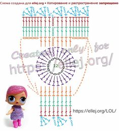 Description of stitches for the free patterns photo's as posted. Disney Crochet Patterns, Doll Patterns Free, Crochet Patterns Amigurumi, Amigurumi Doll, Doll Clothes Patterns, Dress Patterns, Col Crochet, Granny Square Crochet Pattern, Crochet Diagram