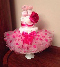 Princess Tutu Flower Baby Girl 3 Tier Diaper Cake Pink Shower / Welcome Gift! in Diaper Cakes | eBay