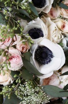 Pink and black wedding florals Photo by: Kate Price Photography on Grey Likes Weddings Anemone Wedding, Floral Wedding, Wedding Bouquets, Wedding Flowers, Wedding Stuff, Wedding Dresses, Diamond Dreams, White Anemone, Black And White Flowers