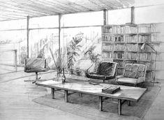interior05 by hipiz on deviantART Diseño de interiores. Blanco y negro.