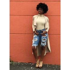 Distressed Denim Bermuda Shorts ❤ liked on Polyvore featuring shorts
