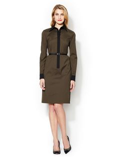 Shirtdress with Contrast Trim and Faux Leather Belt by One Forty 8 by Lafayette 148 New York at Gilt
