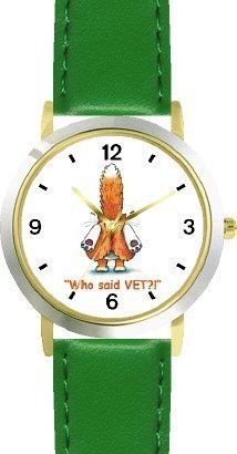 Orange Cat Runnig from Vet - Cat Cartoon or Comic - JP Animal - WATCHBUDDY® DELUXE TWO-TONE THEME WATCH - Arabic Numbers - Green Leather Strap-Size-Children's Size-Small ( Boy's Size & Girl's Size ) WatchBuddy. $49.95. Save 38%!