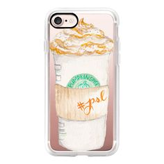 Pumpkin Spice Latte Starbucks Coffee Mug Watercolor - iPhone 7 Case,... found on Polyvore featuring accessories, tech accessories, iphone case, iphone cases, apple iphone cases, iphone cover case and iphone hard case