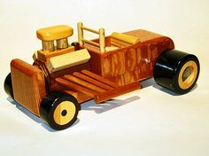 Wood Roadster Hot Rod Toy