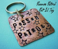 Possum Patrol #Pet Id Tag #handstamped antiqued rustic copper is #personalized with your pet's name and number, by deborahmcgovern jewelry on Etsy, $15.50